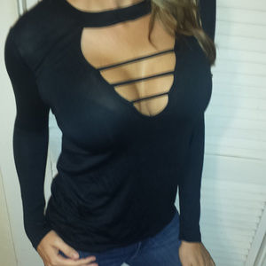 Tops - Black Plunge Caged Sexy Choker L/S T-Shirt Top S